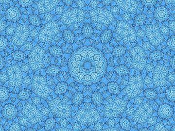 Filigran in Blau (Mandala in Blau oder Denim) von Caroline Lichthart