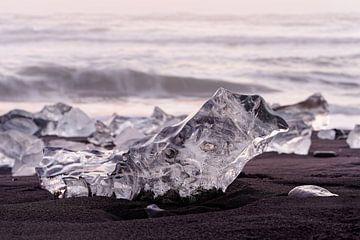 Ice blocks in the evening light sur