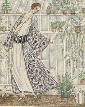De vrouw en haar planten | cactus, broeikas, mode | Vintage Art Deco Advertentie van NOONY