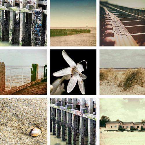 Collage van Zeeland in Vintage stijl sur