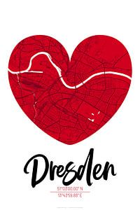 Dresden – City Map Design Stadtplan Karte (Herz)