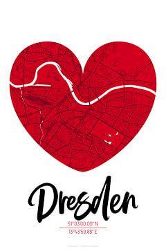 Dresden – City Map Design Stadtplan Karte (Herz) von ViaMapia