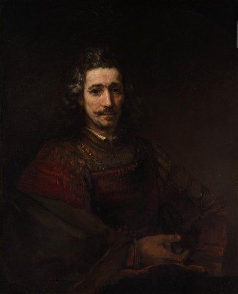 Man met een vergrootglas, Rembrandt van Rembrandt van Rijn