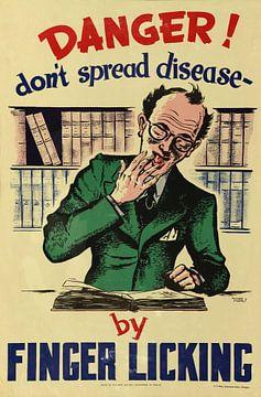 Affiche d'information pour prévenir la propagation des maladies en ne se léchant pas les doigts, dat sur Natasja Tollenaar