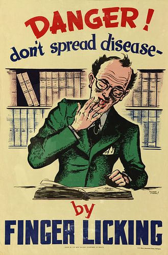 Informationsposter zur Verhinderung der Ausbreitung von Krankheiten durch Fingerlecken ab 1950 von Natasja Tollenaar