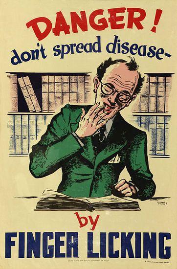 Informatieposter om verspreiding van ziekten tegen te gaan door niet aan vingers te likken uit 1950