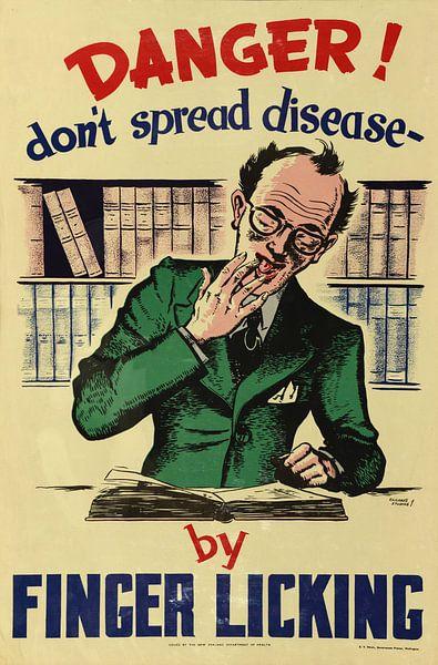 Informatieposter om verspreiding van ziekten tegen te gaan door niet aan vingers te likken uit 1950 van Atelier Liesjes