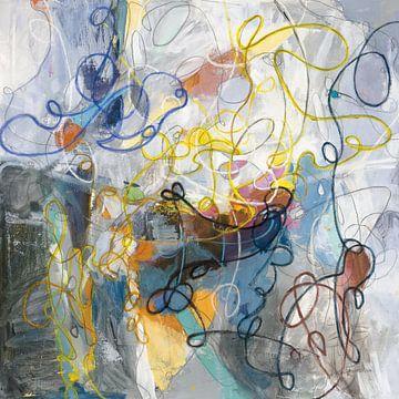 Blauw en Sienna Abstract, Danhui Nai van Wild Apple