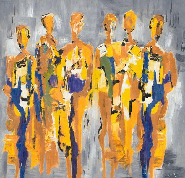 Yellow People of Color | Geel Schilderij met Figuren van Kunst Company
