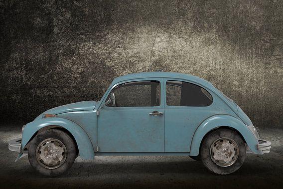 Retro Small Car blue kever