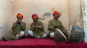 India: Muzikant in Fort Mehrangarh (Jodhpur) van Maarten Verhees