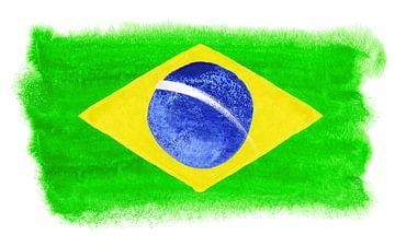 Symbolische nationale vlag van Brazilië van Achim Prill