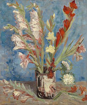 Vase mit Gartenladiolen und chinesischen Astern - Vincent van Gogh von