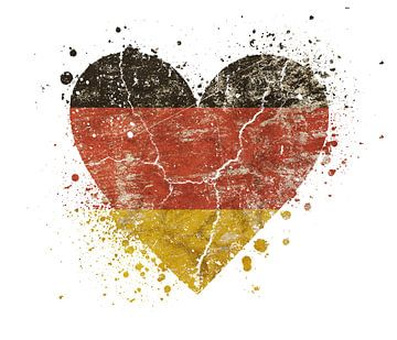 Heart shaped grunge vintage faded German flag van Anton Eine