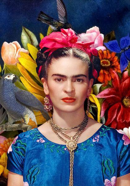 Frida mit Papagei von Rudy en Gisela Schlechter
