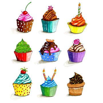 Illustratie van getekende kleurige cupcakes van Ivonne Wierink