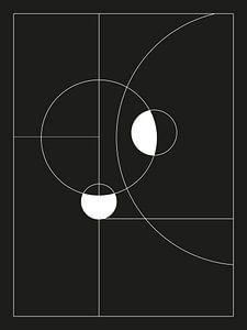 Minimal Black & White Circles - Scandinavische Print van MDRN HOME