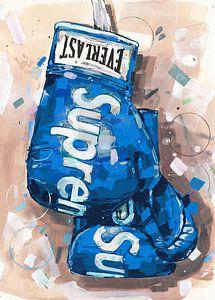 Supreme x Everlast Boxhandschuhe 'blaue' Malerei