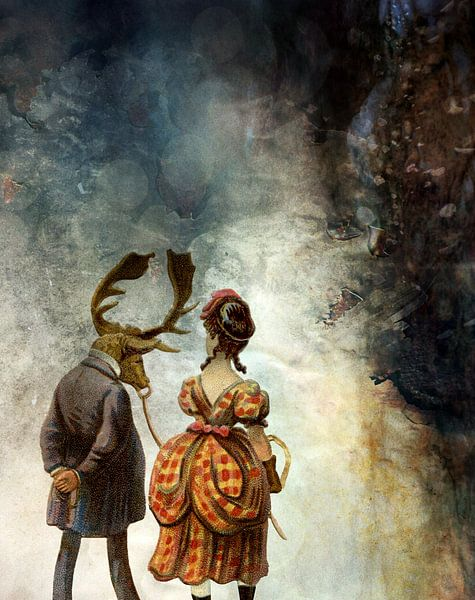 VINTAGE COUPLE IN AUTUMNAL ABSTRACT FOREST van Pia Schneider