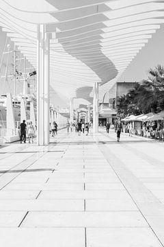 Architektur Malaga Spanien - Hafen in Schwarz-Weiß von Marianne van der Zee