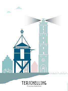 Skyline illustratie waddeneiland Terschelling in kleur van Mevrouw Emmer