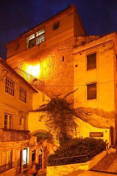 Torre de Almedina at dusk, Old Town, Coimbra, Portugal, Europe  I Stadtturm torre de Almedina , Alts