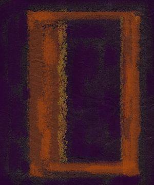 Frame in abstractie, paars - oranje van Rietje Bulthuis