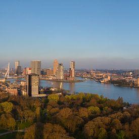 Panorama skyline Rotterdam tijdens gouden uur (zonsondergang) van PJS foto