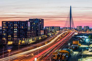 Prins Claus brug en Kanaleneiland bij zonsondergang van Renzo Gerritsen