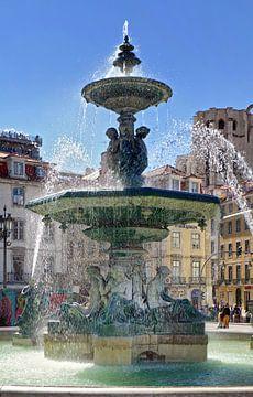 Lissabon: Fontein op het Rossio (Praça de D. Pedro IV)