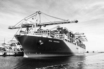 MOL Triumph containerschip in zwartwit von Leontien van der Willik-de Jonge