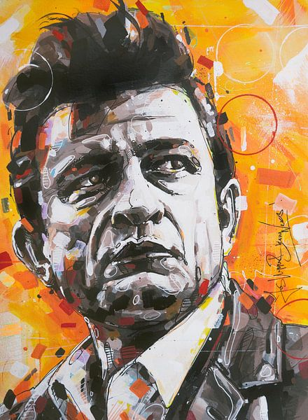 Johnny Cash Gemälde von Jos Hoppenbrouwers