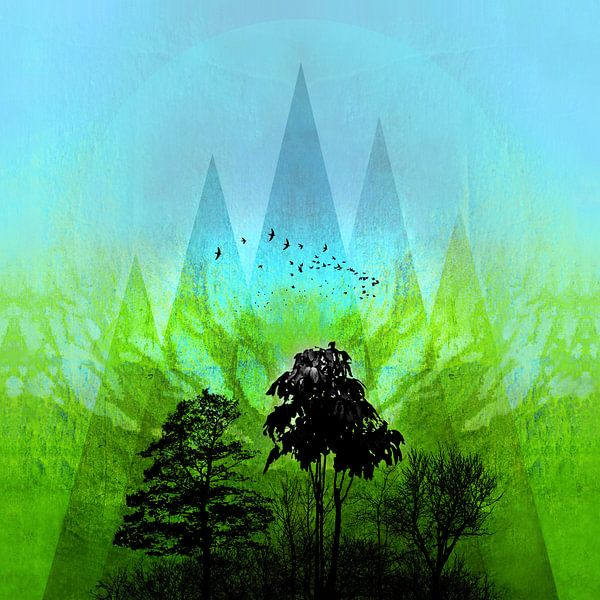 TREES under MAGIC MOUNTAINS V-GREEN van Pia Schneider