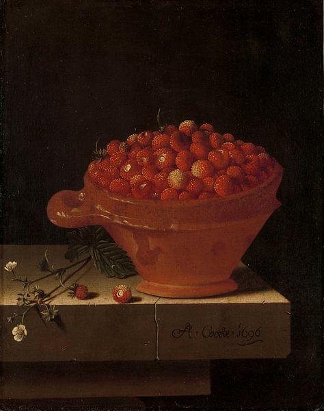 Een bakje aardbeien op een stenen plint, Adriaen Coorte