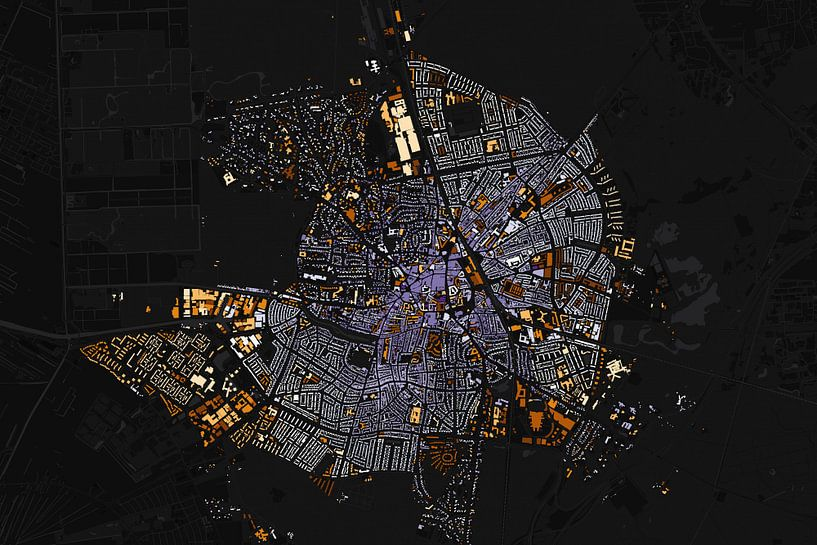 Kart van Hilversum abstract van Stef Verdonk