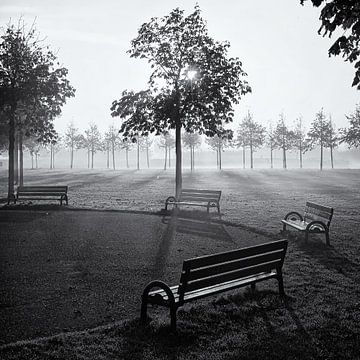 Bankjes in park Assumburg, Heemskerk sur Paul Beentjes