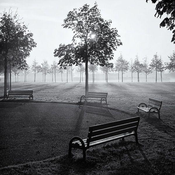 Bankjes in park Assumburg, Heemskerk van Paul Beentjes