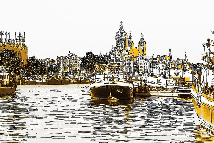 Pentekening Oosterdok Amsterdam Nederland Tekening Lijntekening Goud van Hendrik-Jan Kornelis
