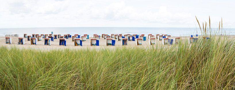 helmgras en strandhuisjes Katwijk van Arjan van Duijvenboden