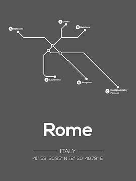 Lignes de métro Rome Gris foncé sur