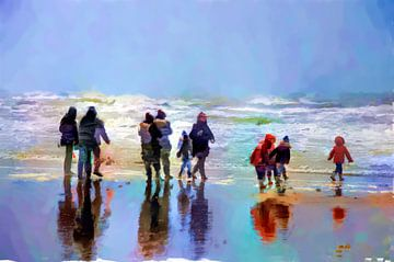 Promenade sur la plage sur Frans Van der Kuil