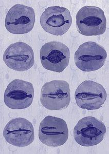 12 Delfts blauwe vissen van Jadzia Klimkiewicz