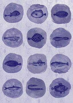 12 Delfter Blau Fisch von Jadzia Klimkiewicz