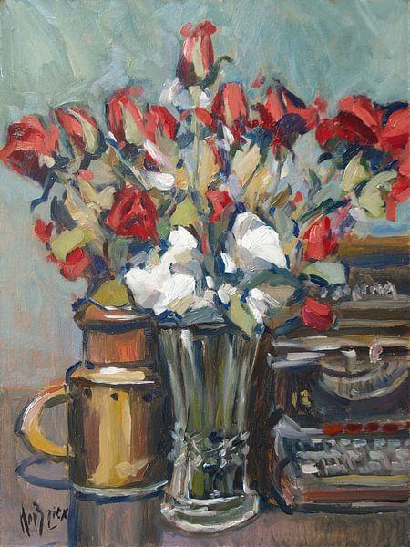 Rode rozen en Reminton 12 van Nop Briex