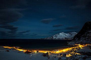 Koude winternacht in Senja / Lofoten, Noorwegen von Martijn Smeets