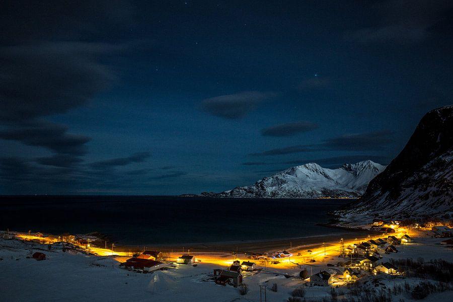 Koude winternacht in Senja / Lofoten, Noorwegen