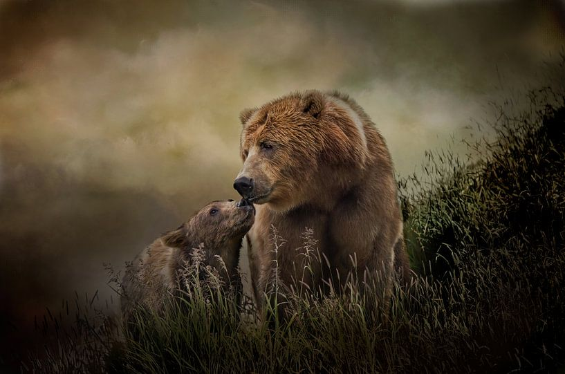 Grizzlybeer Moeder Beer Met Jong van Diana van Tankeren