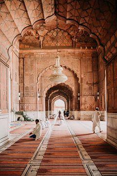 Moschee in Indien in Pastellfarben von Yvette Baur