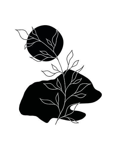 Abstracte landschap in zwart en wit met een zon, een rots en een plant