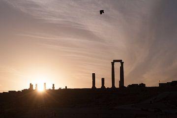 Silhouette der Zitadelle Amman, Jordanien von Laura Vink